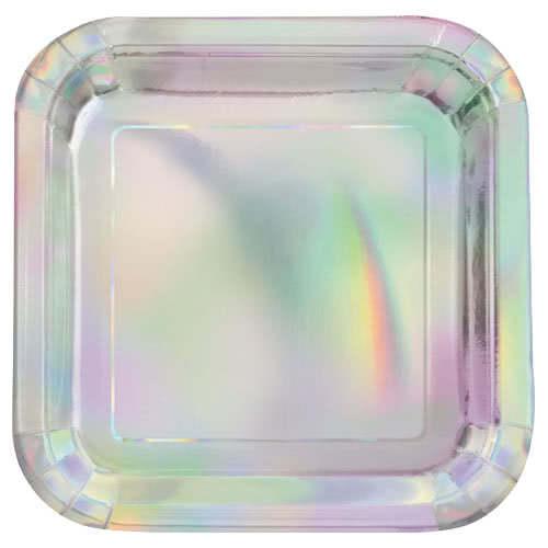 Platos Cuadrados De Papel De Aluminio Iridiscente 22Cm - Paquete De 8