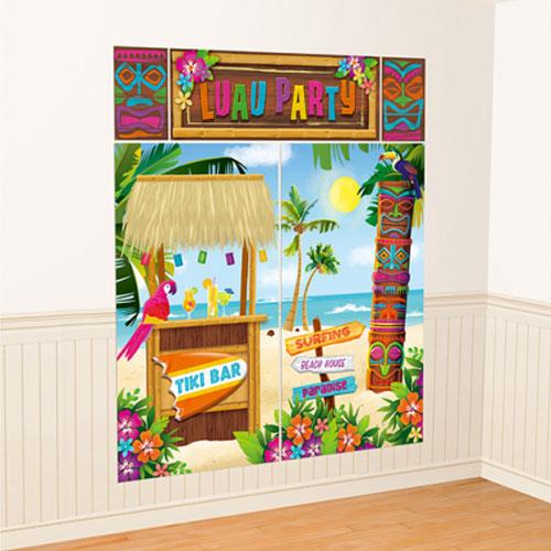 Hawaii Luau Fiesta Escena De La Pared Setter Decorating Kit