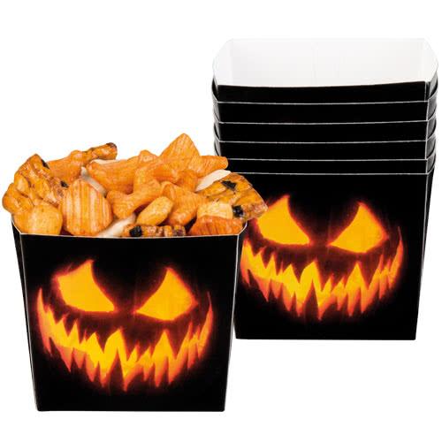 Cuencos De Papel Espeluznantes De Calabaza De Halloween 400 Ml - Paquete De 6