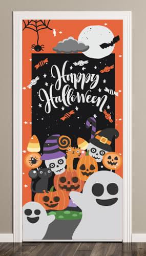 Feliz Spooky Halloween Puerta Cubierta PVC Fiesta Sign Decoración 66cm x 152cm