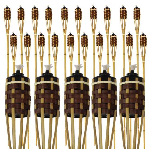 Antorcha De Bambú Natural Y Marrón 120Cm - Paquete De 25