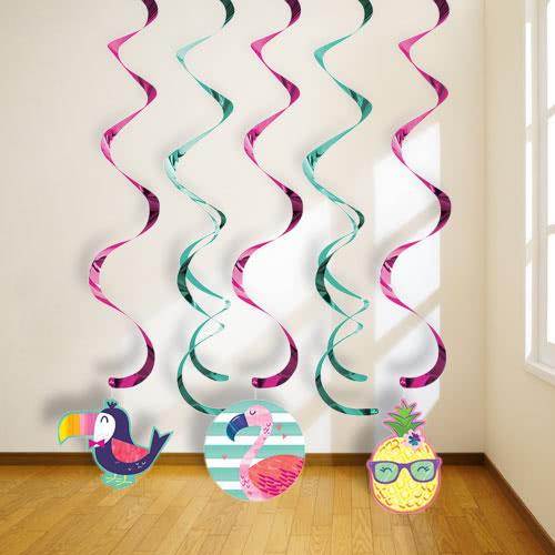 Piña Y Amigos Dizzy Danglers Remolinos Colgantes Decoraciones - Paquete De 5