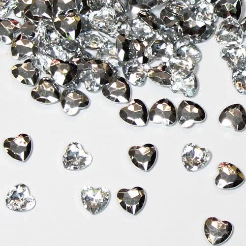 Plata 12Mm Corazón Diamantes Gemas De Mesa Premium 28G