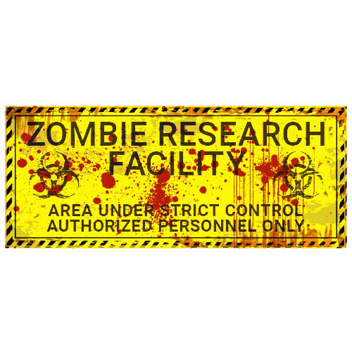 Zombie Instalaciones De Investigación Halloween PVC Fiesta Sign Decoración 66cm x 25cm