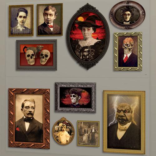 Retratos Góticos Halloween Telón De Fondo Escena Setter Add-On Decoraciones De Pared - Paquete De 2