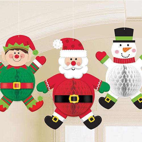 Personajes De Navidad Decoraciones Colgantes En Panal De 35Cm - Paquete De 3