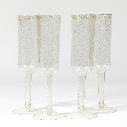 Copas De Champán De Oro Brillo Plástico - Paquete De 4