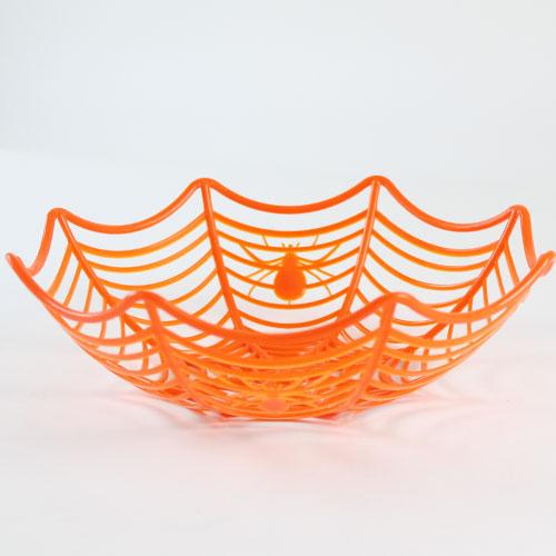 Cesta plástica naranja de la telaraña de Halloween los 25cm