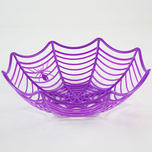 Cesta plástica de la telaraña púrpura de Halloween los 25cm