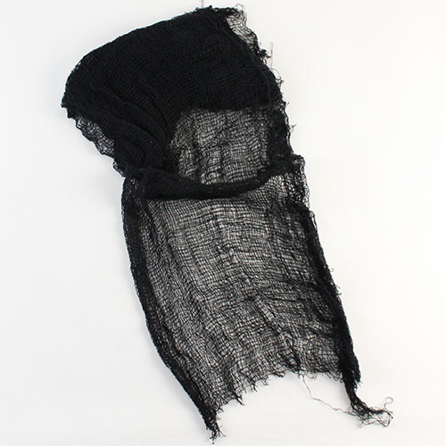 Decoración de tela negra espeluznante de Halloween
