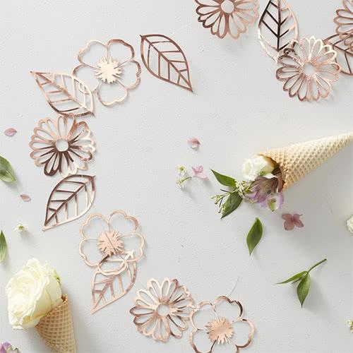 Decoración De Guirnaldas De Flores De Oro Rosa Arrugado 3M