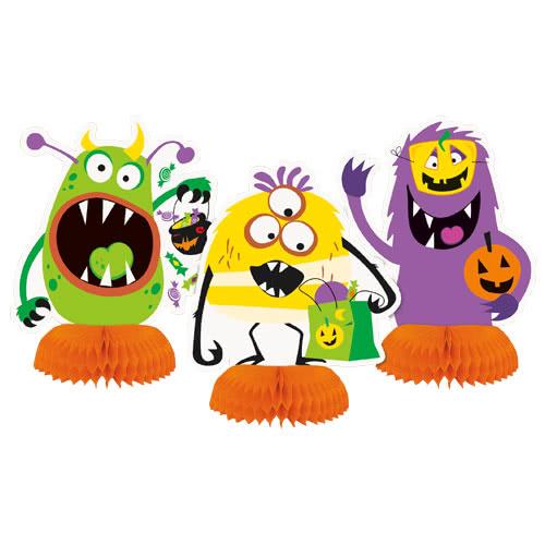 Tonto Halloween Monstruos Panal Centro De Mesa Decoraciones De Mesa - Paquete de 3