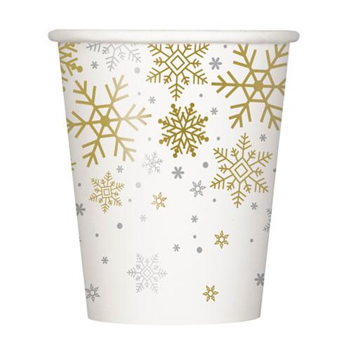 Vasos De Papel De Navidad Copos De Nieve Plateados Y Dorados 270Ml - Paquete De 8