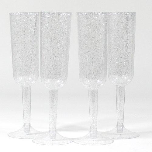 Gafas De Champán De Plata Con Brillo Plateado - Paquete De 4