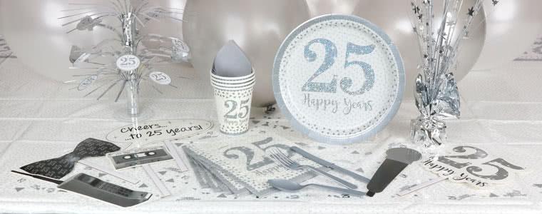 Suministros de fiesta de aniversario de plata chispeante Top Image