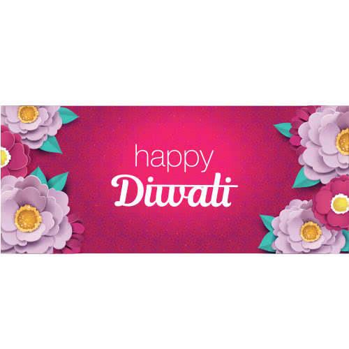 Feliz Diwali Lila Y Flores De Color Rosa Decoración De Letreros De Fiesta 60 Cm X 25 Cm
