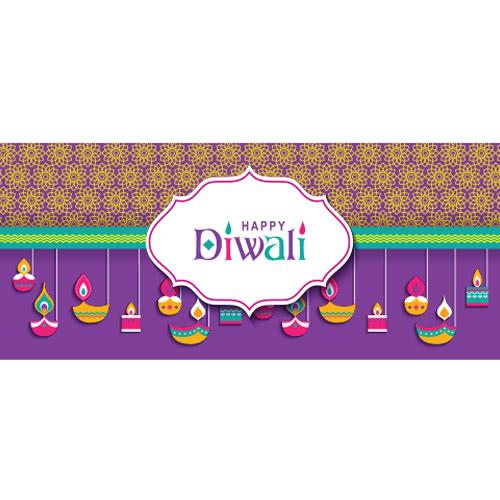 Feliz Diwali Flores Y Velas Decoración De La Muestra Del Partido Del Pvc 60Cm X 25Cm