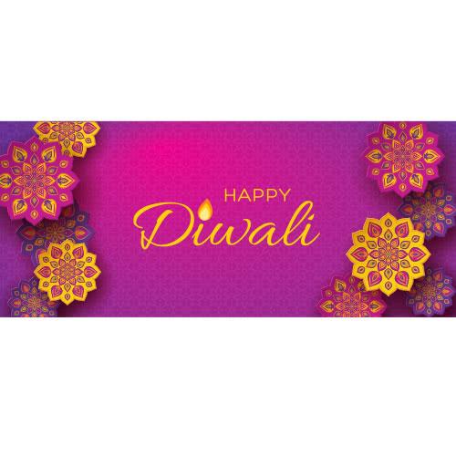 Feliz Diwali Flores Tradicionales Fiesta De Pvc Decoración Decoración 60 Cm X 25 Cm