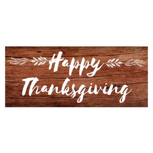 Feliz Día De Acción De Gracias Efecto De Madera Fiesta De Pvc Decoración Decoración 60 Cm X 25 Cm