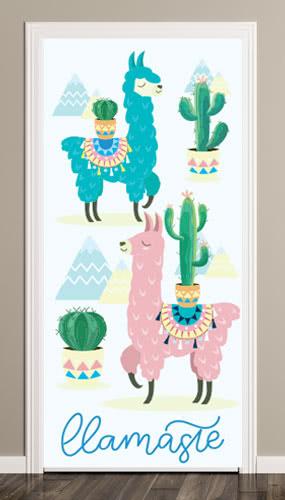Llama Cactus Puerta Cubierta Pvc Fiesta Signo Decoración 66Cm X 152Cm