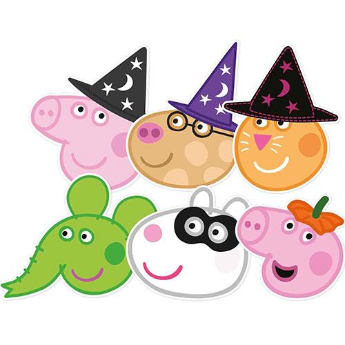 Máscaras Faciales De Cartón De Peppa Pig Y Amigos Halloween - Paquete De 6