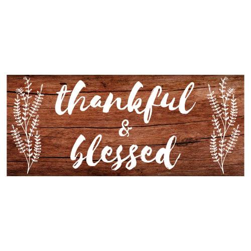 Agradecido Y Bendecido Día De Acción De Gracias Efecto De Madera Muestra De Partido 60 Cm X 25 Cm