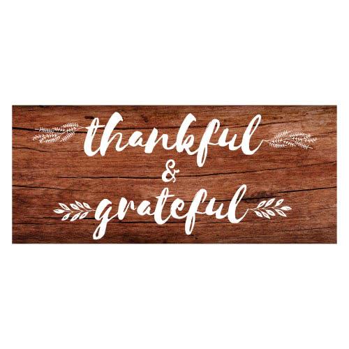 Agradecimiento Y Agradecido Día De Acción De Gracias Efecto De Madera Fiesta De Pvc Decoración Letrero 60Cm X 25Cm
