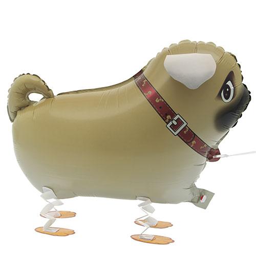Caminar Mascota Pug Foil Globo De Helio 56 Cm / 22 Pulgadas