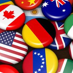 Fuentes de fiesta temáticas de Flags internacionales