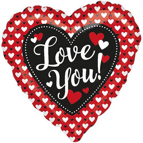 """San Valentín I Love Corazón Globo de la hoja nos Huella Digital 18/"""""""
