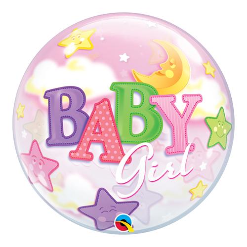 Bebé Niña Luna Y Estrellas Baby Shower Burbuja Helio Qualatex Globo 56Cm / 22 In