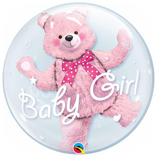 Baby Shower Oso Rosa Bebé Niña Doble Burbuja Helio Qualatex Globo 61Cm / 24 In