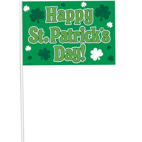 Bandera De Plástico De Mano Feliz Día De San Patricio 26Cm
