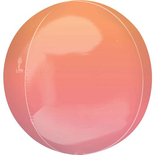 Ombre Rojo Y Naranja Orbz Papel De Aluminio Globo De Helio 38 Cm / 15 Pulgadas