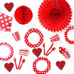 Puntos decorativos rojos rubí