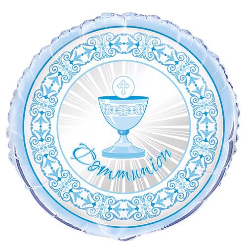 Azul Radiante Cruz Comunión Hoja Redonda Helio Globo 46Cm / 18 Pulgadas