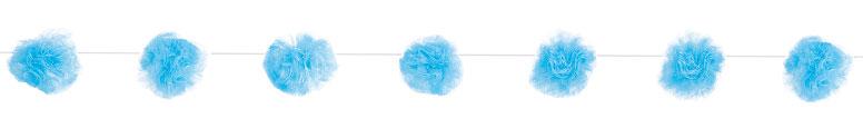Tul Azul Pom Pom Guirnalda Colgando Decoraciones 213Cm