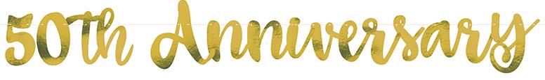 Guión De Oro 50 Aniversario Papel Cartón Carta Banner 152Cm