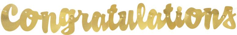 Guión Oro Felicitaciones Papel Cartón Carta Banner 106Cm
