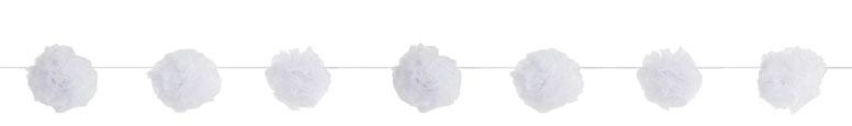 Tul Blanco Pom Pom Guirnalda Colgando Decoraciones 213Cm