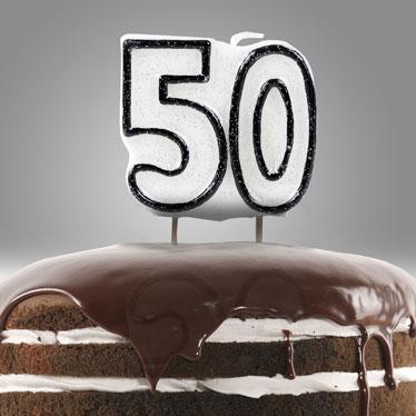 50.a fiesta de cumpleaños velas y destellos