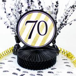 Decoraciones de mesa de cumpleaños 70