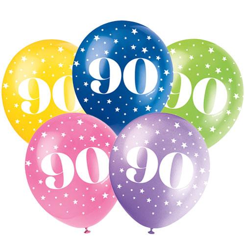 90 Años De Edad Globos De Látex Surtidos Biodegradables 30 Cm / 12 Pulgadas - Paquete De 5