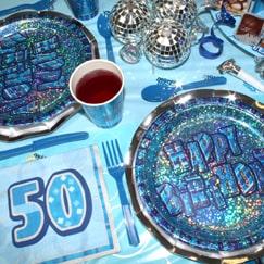 Azul Glitz 50.º cumpleaños