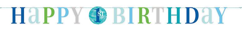 Primer Cumpleaños Niño Azul Puntos Cartulina Carta Banner 182Cm
