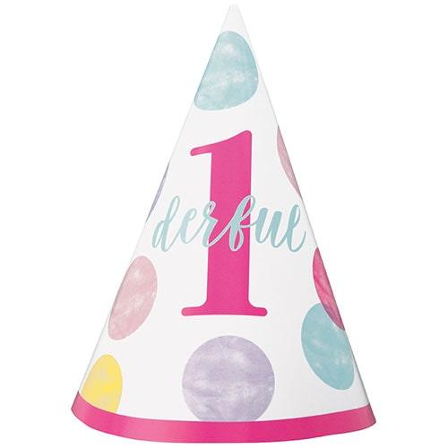 Primer Cumpleaños Niña Rosa De Puntos 1Derful Party Cono Sombrero
