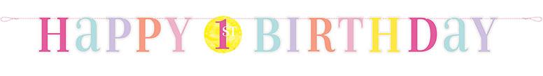 Primer Cumpleaños Niña Rosa Puntos Cartulina Carta Banner 182Cm