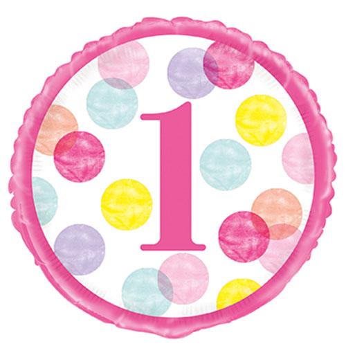 Primer Cumpleaños Niña Rosa Puntos Globo De Helio Lámina Redonda 46 Cm / 18 Pulgadas
