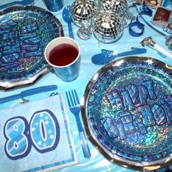 Azul Glitz 80.º cumpleaños