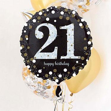 Globos y accesorios del 21 cumpleaños